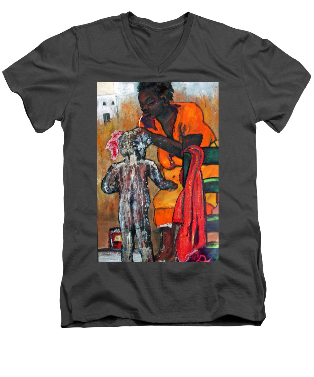 Mom Bathing Boy Men's V-Neck T-Shirt featuring the painting Saturday Night Bath by Peggy Blood