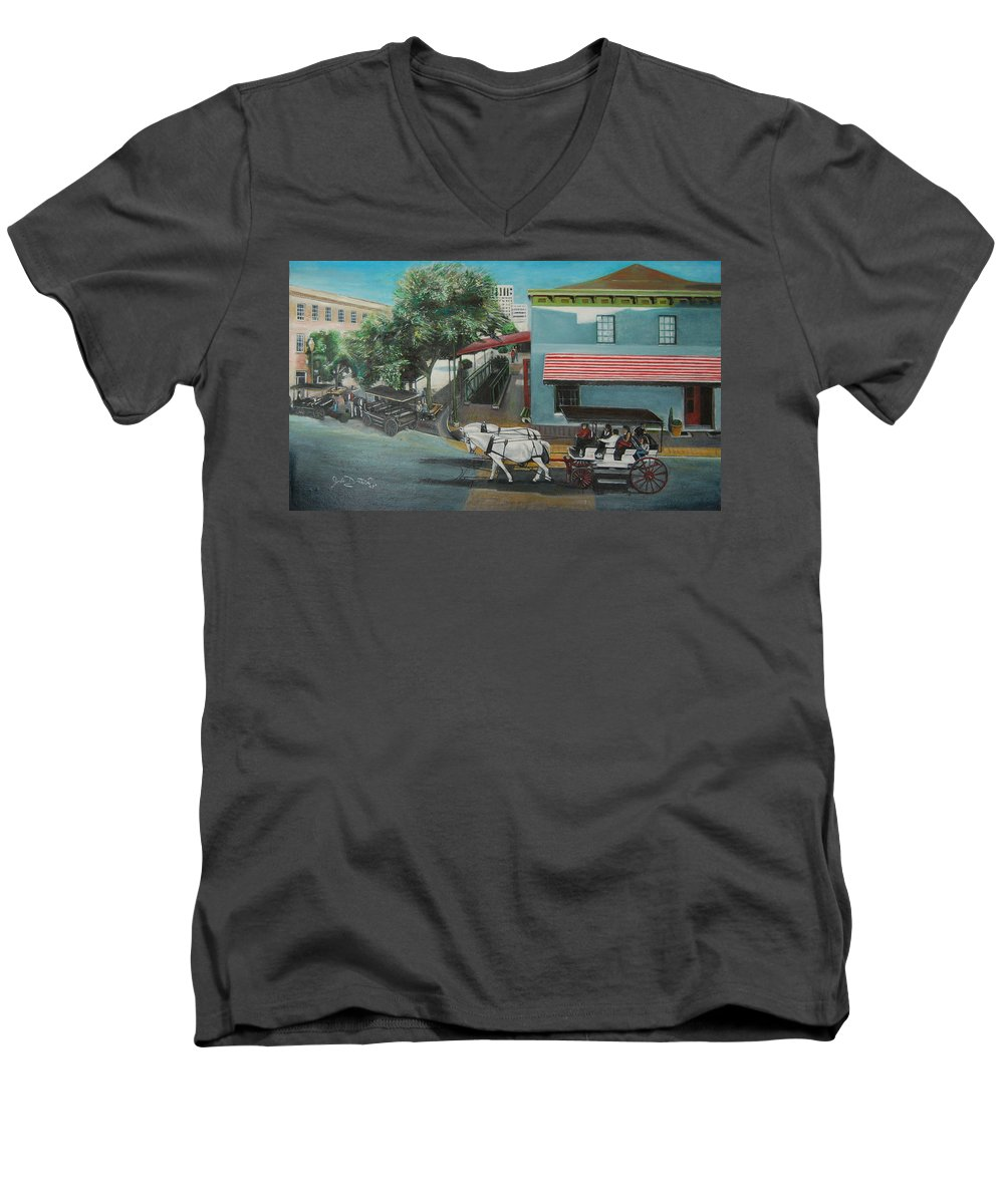 Men's V-Neck T-Shirt featuring the painting Savannah City Market by Jude Darrien
