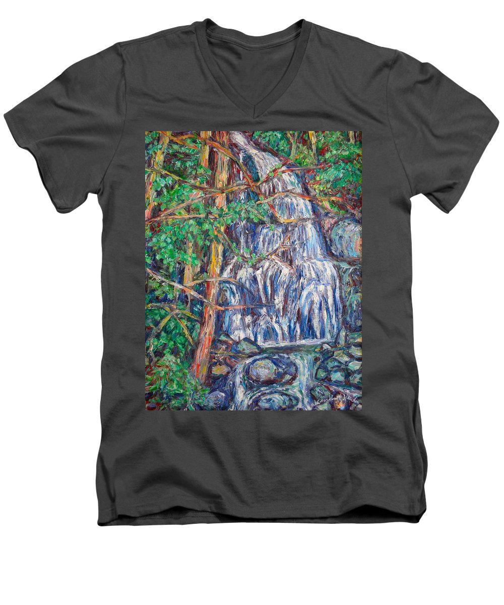 Waterfall Men's V-Neck T-Shirt featuring the painting Secluded Waterfall by Kendall Kessler