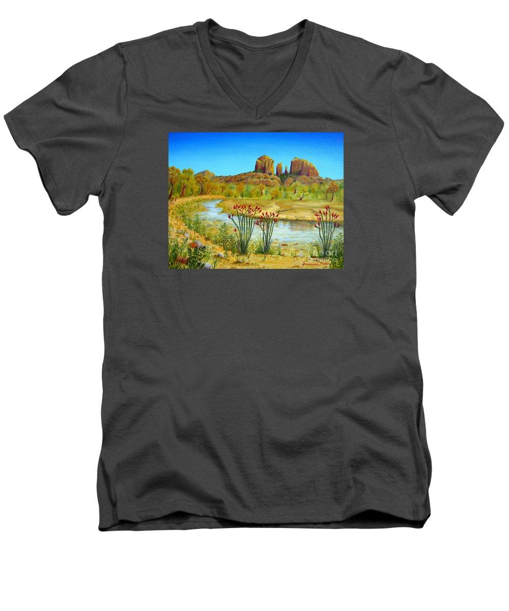 Sedona Men's V-Neck T-Shirt featuring the painting Sedona Arizona by Jerome Stumphauzer