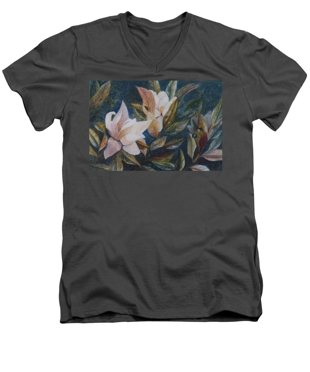 Magnolias; Humming Bird Men's V-Neck T-Shirt featuring the painting Serenity by Ben Kiger