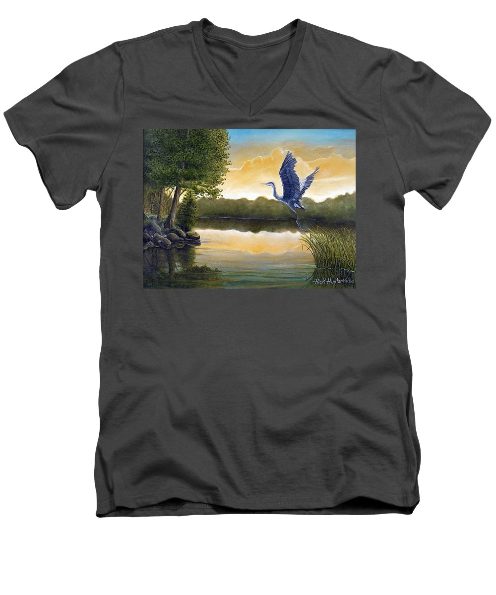 Rick Huotari Men's V-Neck T-Shirt featuring the painting Serenity by Rick Huotari