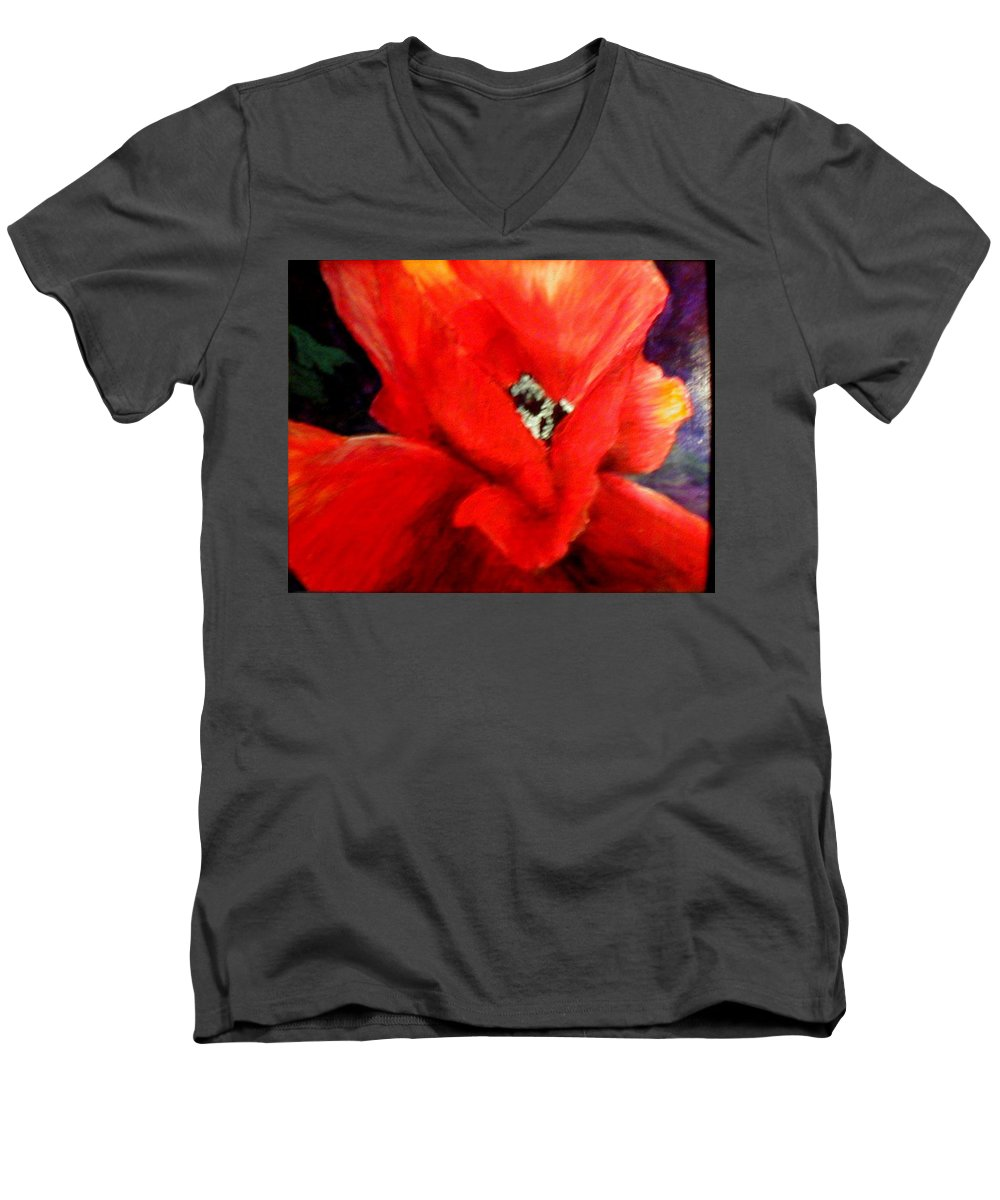 Floral Men's V-Neck T-Shirt featuring the painting She Wore Red Ruffles by Gail Kirtz