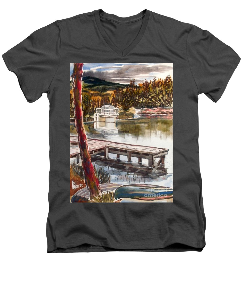 Shepherd Mountain Lake In Twilight Men's V-Neck T-Shirt featuring the painting Shepherd Mountain Lake In Twilight by Kip DeVore