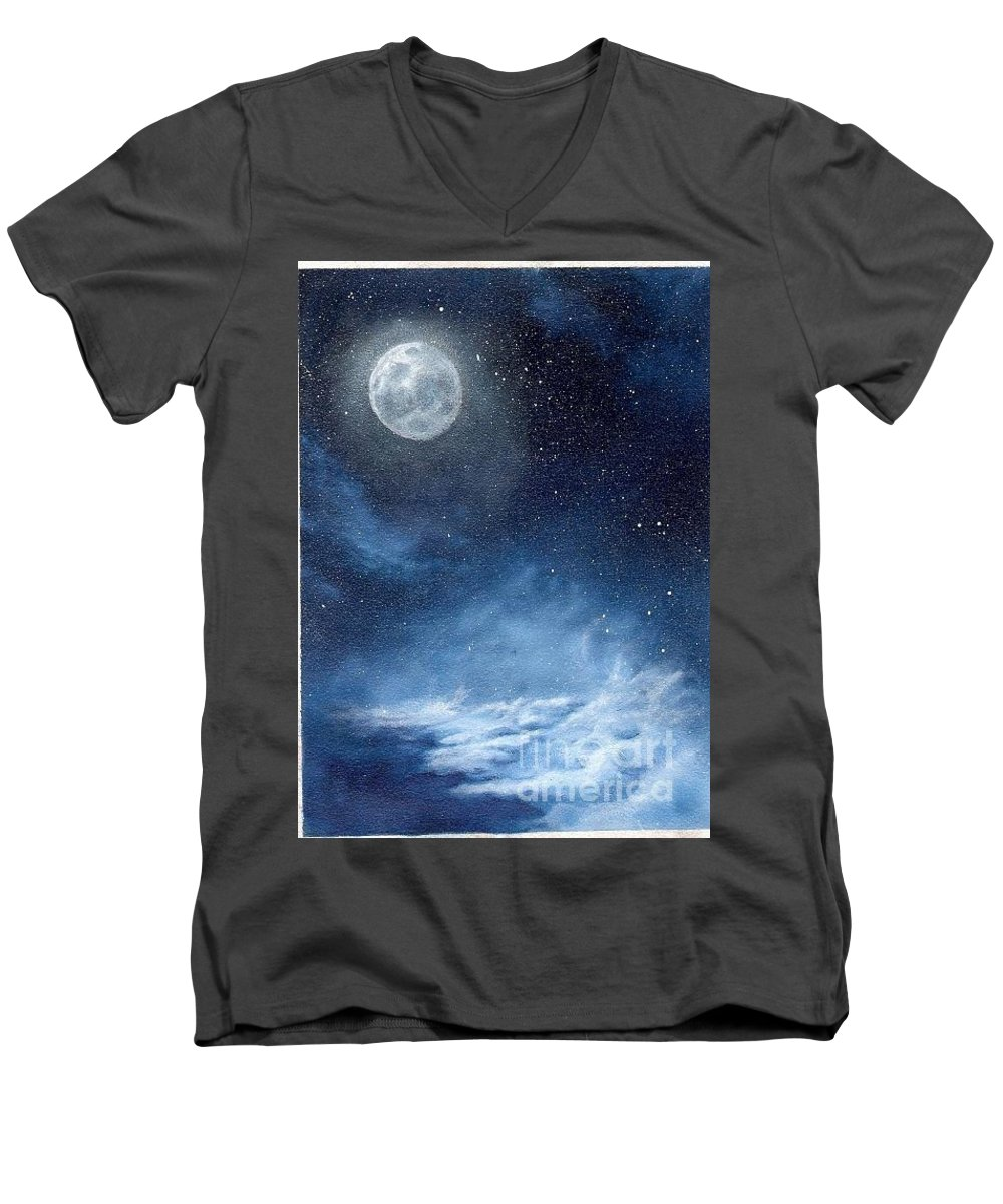 Cosmos Men's V-Neck T-Shirt featuring the painting Shimmer by Murphy Elliott
