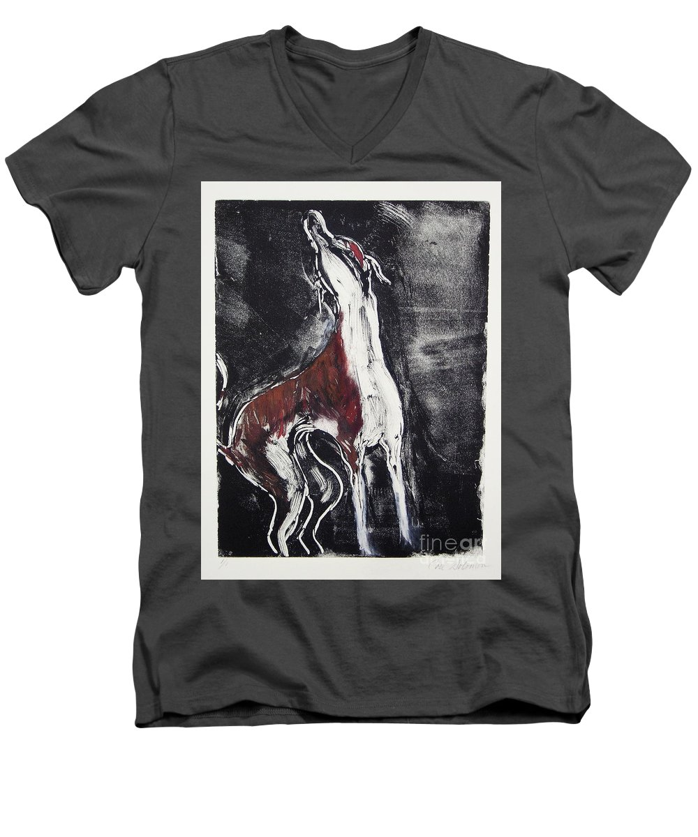 Framed Men's V-Neck T-Shirt featuring the mixed media Singing For Joy by Cori Solomon