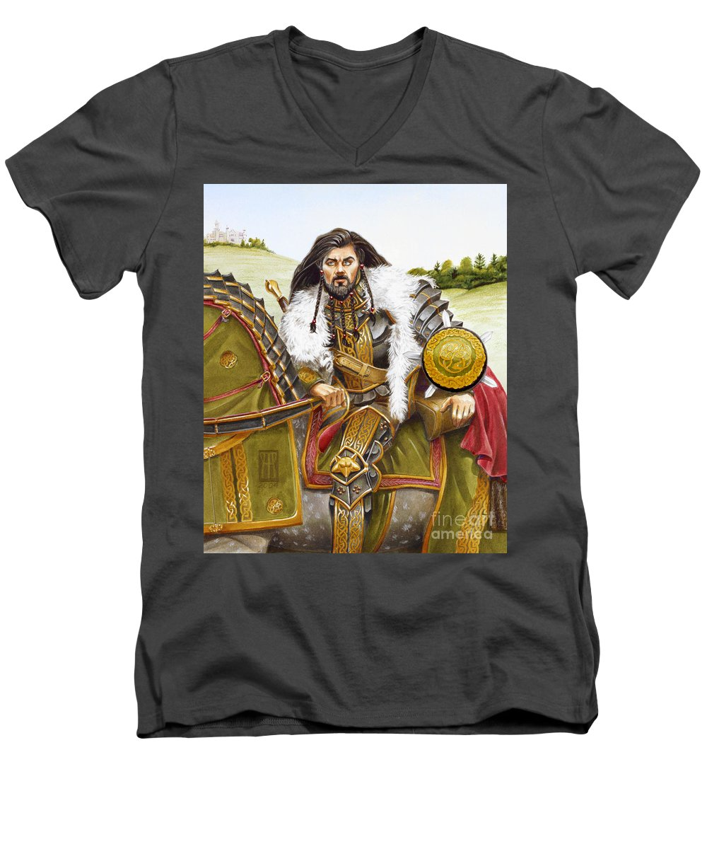 Fine Art Men's V-Neck T-Shirt featuring the painting Sir Marhaus by Melissa A Benson
