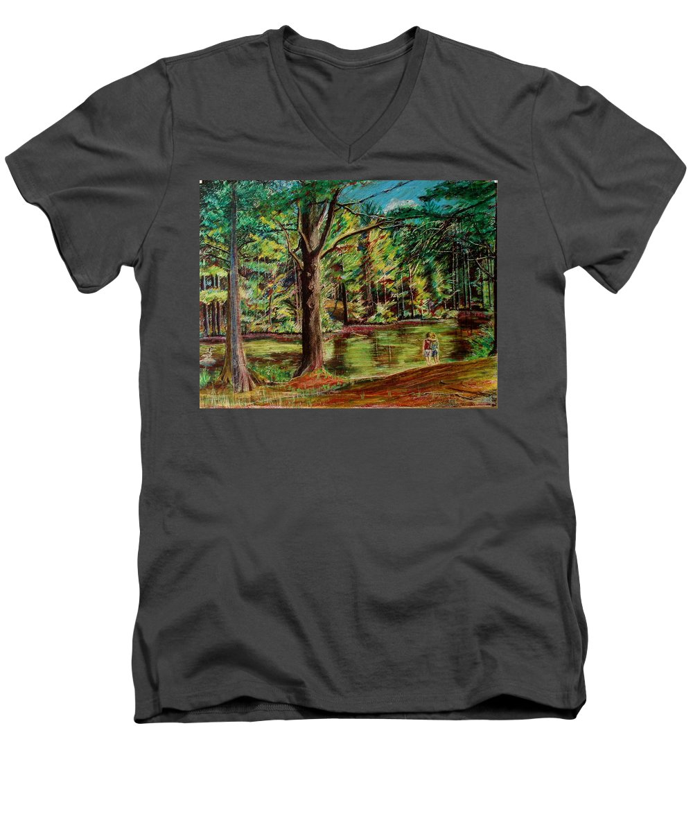 New Hampshire Men's V-Neck T-Shirt featuring the pastel Sisters At Wason Pond by Sean Connolly
