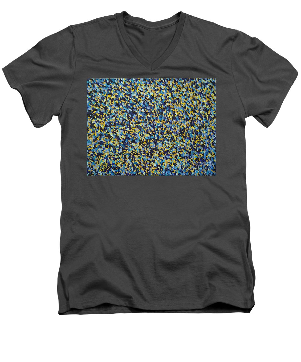 Abstract Men's V-Neck T-Shirt featuring the painting Soft Blue With Yellow by Dean Triolo