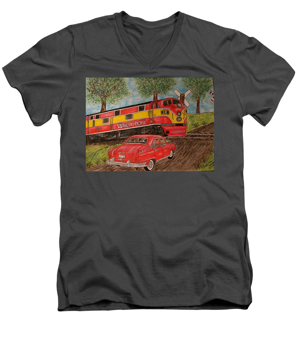 Southern Pacific Railroad Men's V-Neck T-Shirt featuring the painting Southern Pacific Train 1951 Kaiser Frazer Car Rr Crossing by Kathy Marrs Chandler