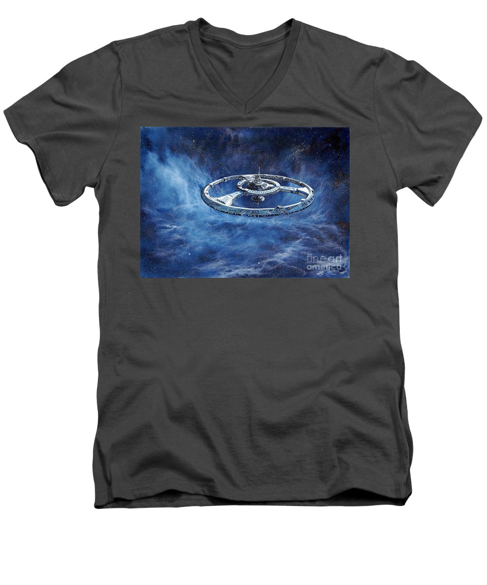 Sci-fi Men's V-Neck T-Shirt featuring the painting Deep Space Eight Station Of The Future by Murphy Elliott