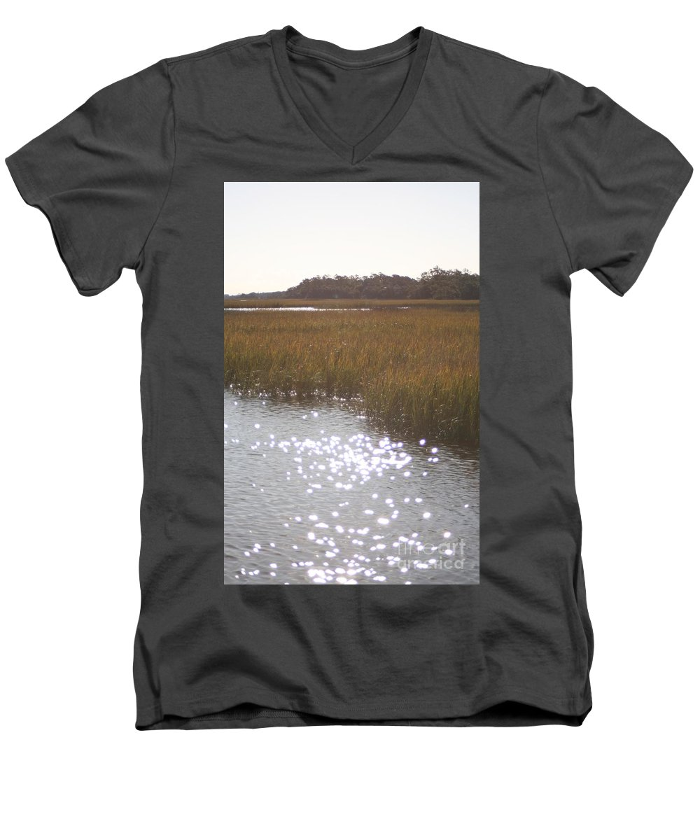 Marsh Men's V-Neck T-Shirt featuring the photograph Sparkling Marsh by Nadine Rippelmeyer