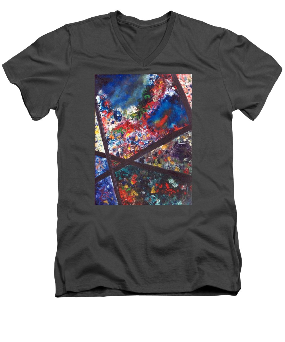 Abstract Men's V-Neck T-Shirt featuring the painting Spectral Chaos by Micah Guenther