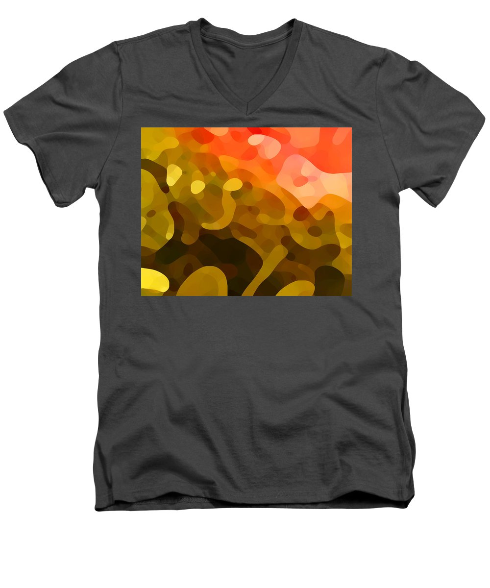 Abstract Men's V-Neck T-Shirt featuring the painting Spring Day by Amy Vangsgard