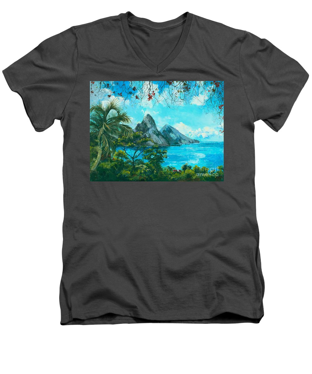 Mountains Men's V-Neck T-Shirt featuring the painting St. Lucia - W. Indies by Elisabeta Hermann