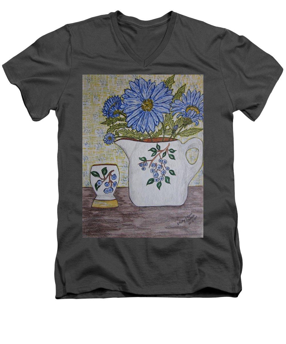 Stangl Blueberry Pottery Men's V-Neck T-Shirt featuring the painting Stangl Blueberry Pottery by Kathy Marrs Chandler