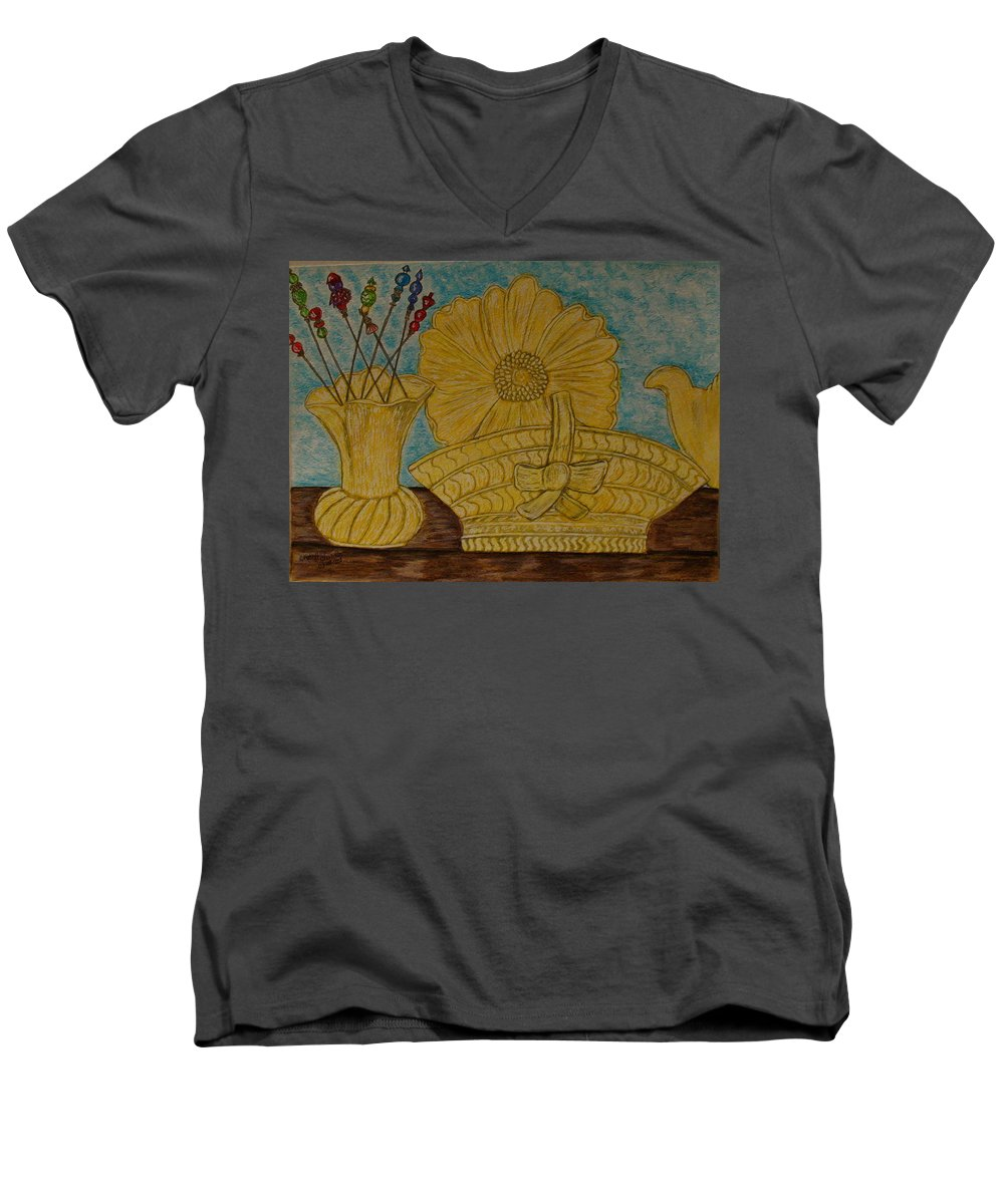 Stangl Pottery Men's V-Neck T-Shirt featuring the painting Stangl Pottery Satin Yellow Pattern And Vintage Hat Pins by Kathy Marrs Chandler