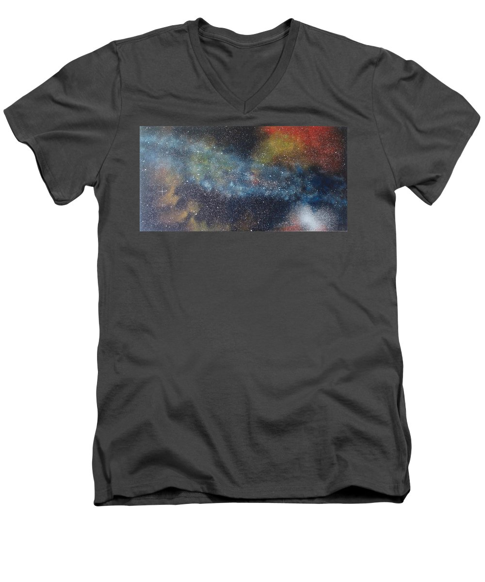 Space;stars;starry;nebula;spiral;galaxy;star Cluster;celestial;cosmos;universe;orgasm Men's V-Neck T-Shirt featuring the painting Stargasm by Sean Connolly
