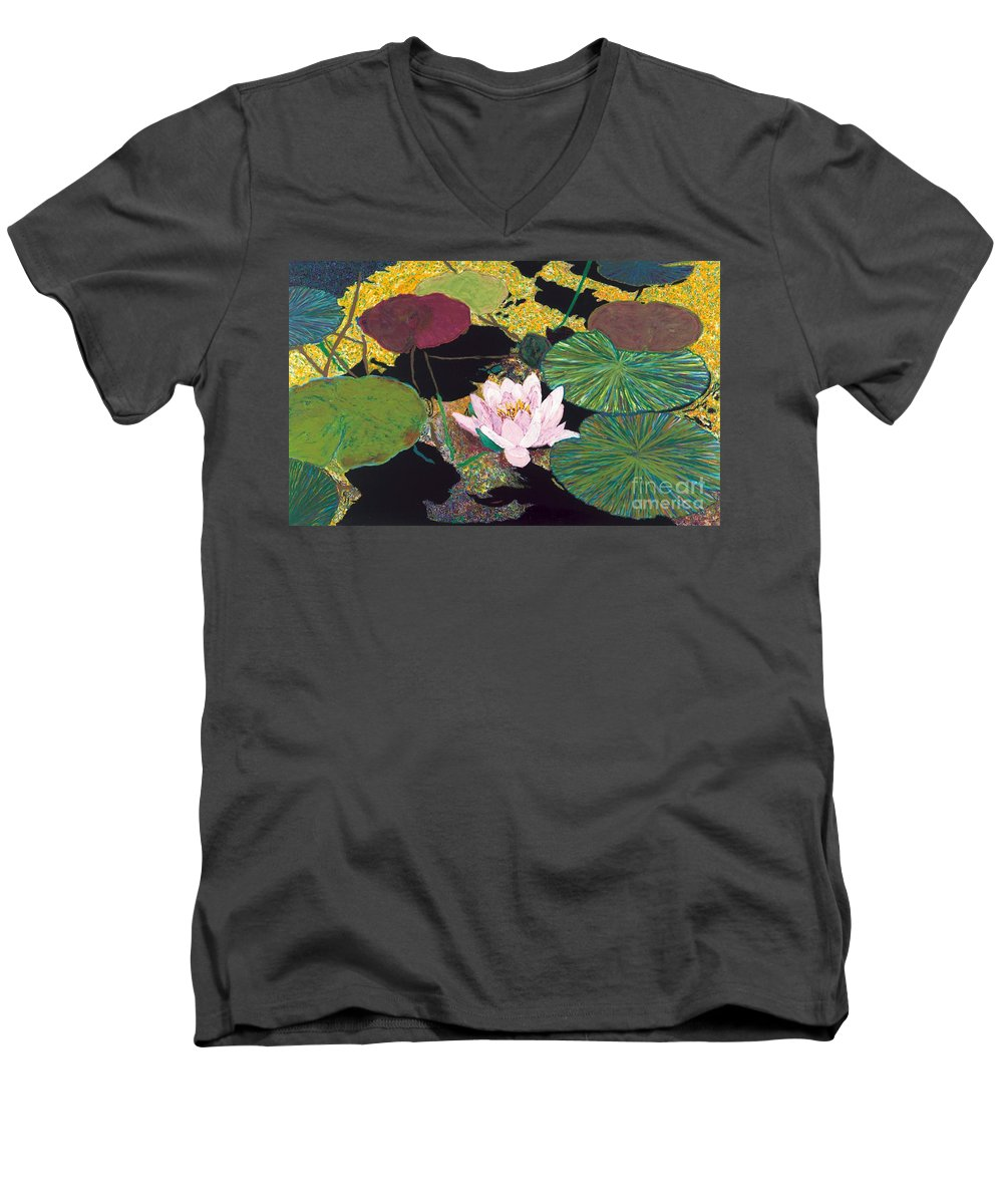 Landscape Men's V-Neck T-Shirt featuring the painting Steamy Pond by Allan P Friedlander