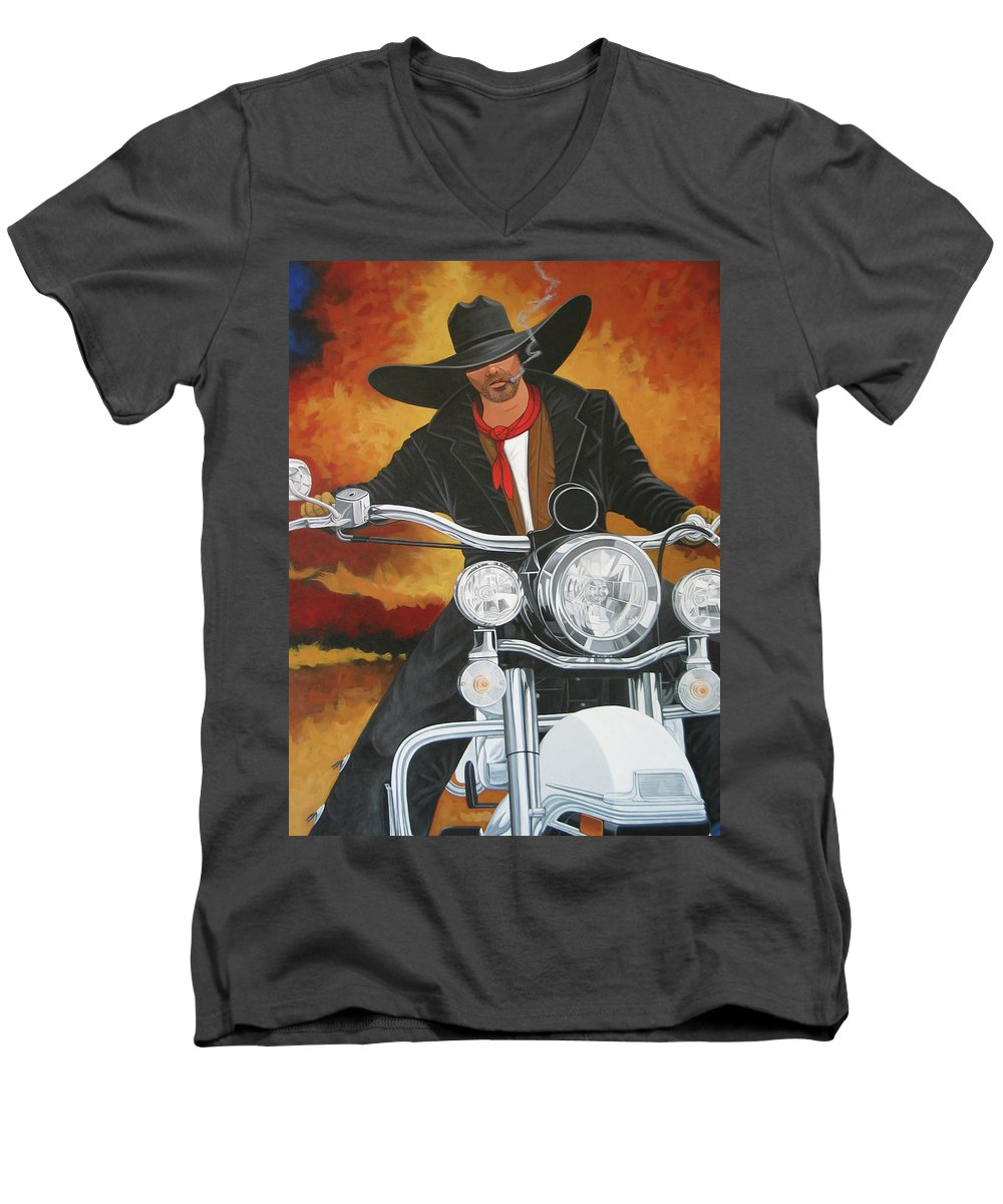 Cowboy On Motorcycle Men's V-Neck T-Shirt featuring the painting Steel Pony by Lance Headlee