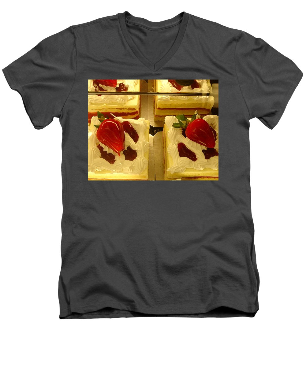 Kitchen Men's V-Neck T-Shirt featuring the painting Strawberry Cakes by Amy Vangsgard