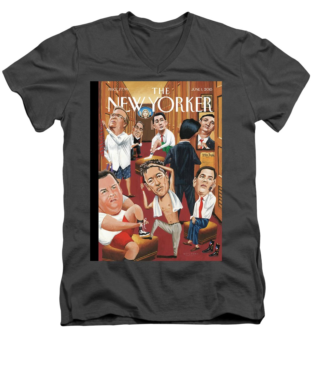 Marco Rubio Phone Men's V-Neck T-Shirt featuring the painting Suiting by Mark Ulriksen