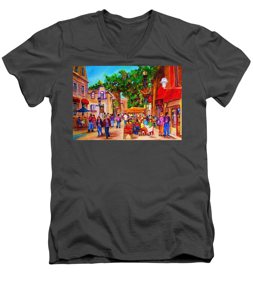 Summer Cafes Montreal Street Scenes Men's V-Neck T-Shirt featuring the painting Summer Cafes by Carole Spandau