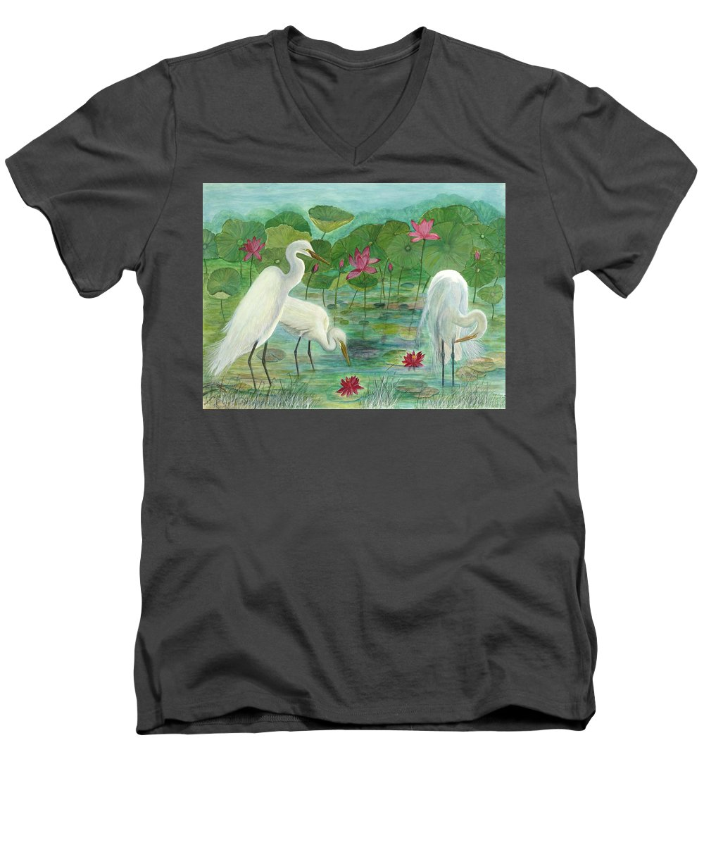Lily Pads; Egrets; Low Country Men's V-Neck T-Shirt featuring the painting Summer Trilogy by Ben Kiger