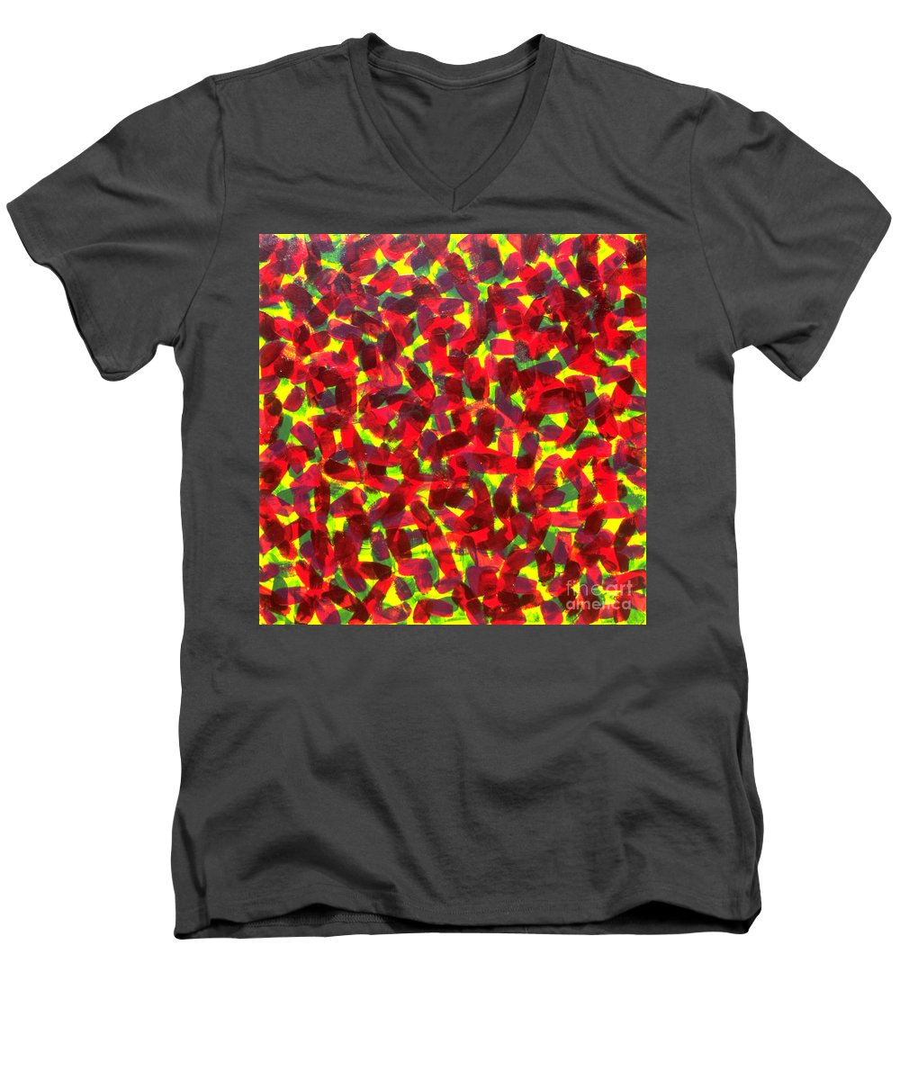 Abstract Men's V-Neck T-Shirt featuring the painting Sunlight Through The Trees by Dean Triolo