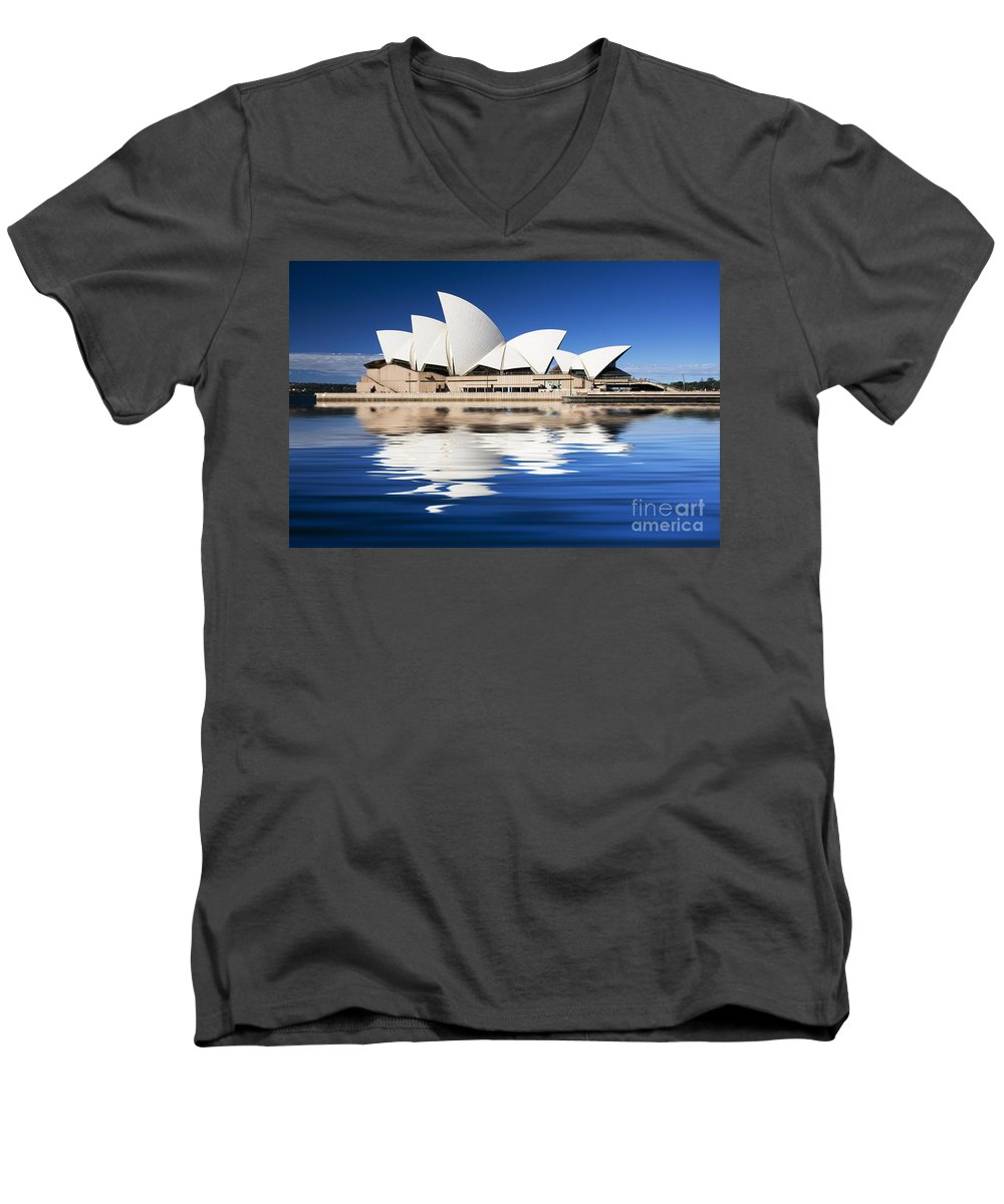 Sydney Opera House Men's V-Neck T-Shirt featuring the photograph Sydney Icon by Sheila Smart Fine Art Photography