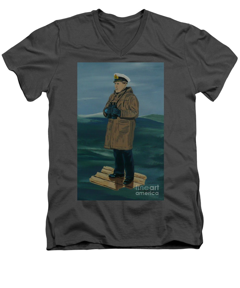 Captain Men's V-Neck T-Shirt featuring the painting The Captain by Anthony Dunphy