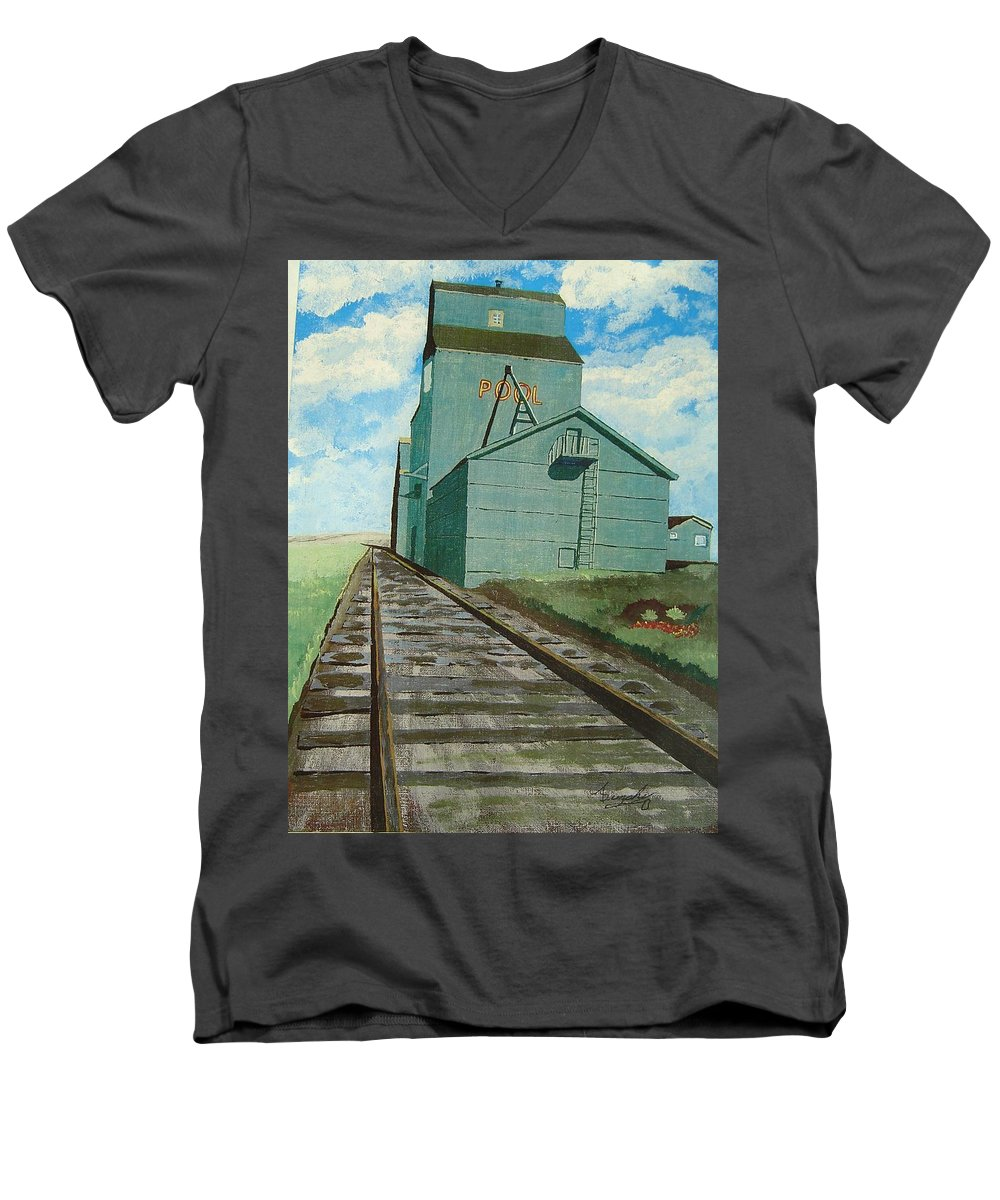Elevator Men's V-Neck T-Shirt featuring the painting The Grain Elevator by Anthony Dunphy