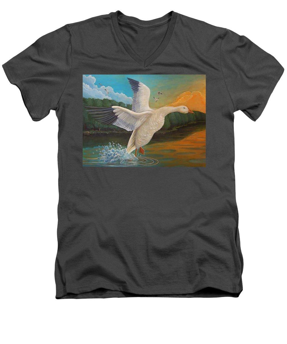 Rick Huotari Men's V-Neck T-Shirt featuring the painting The Landing by Rick Huotari