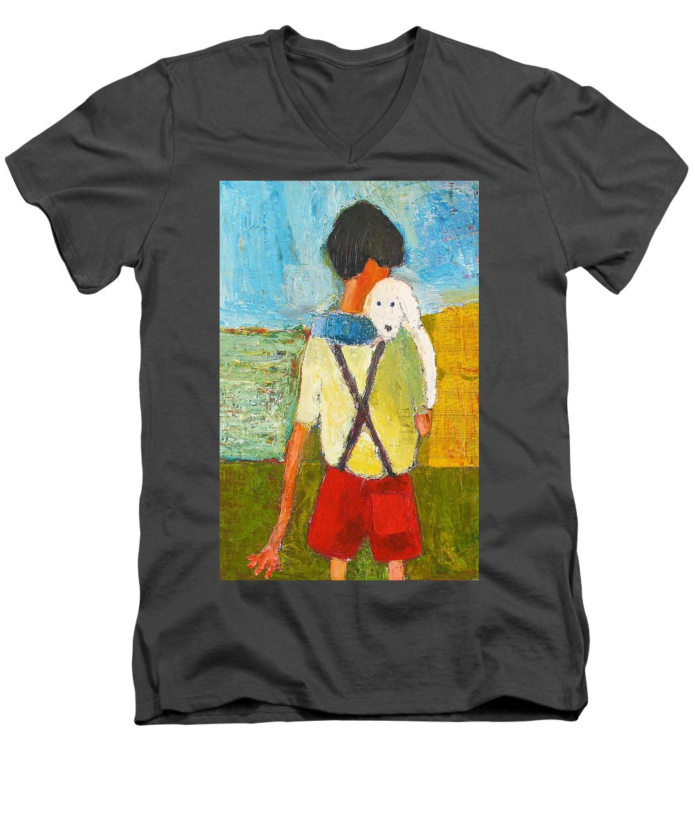 Abstract Men's V-Neck T-Shirt featuring the painting The Little Puppy by Habib Ayat