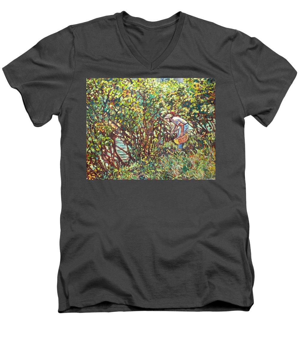 Landscape Men's V-Neck T-Shirt featuring the painting The Mushroom Picker by Kendall Kessler