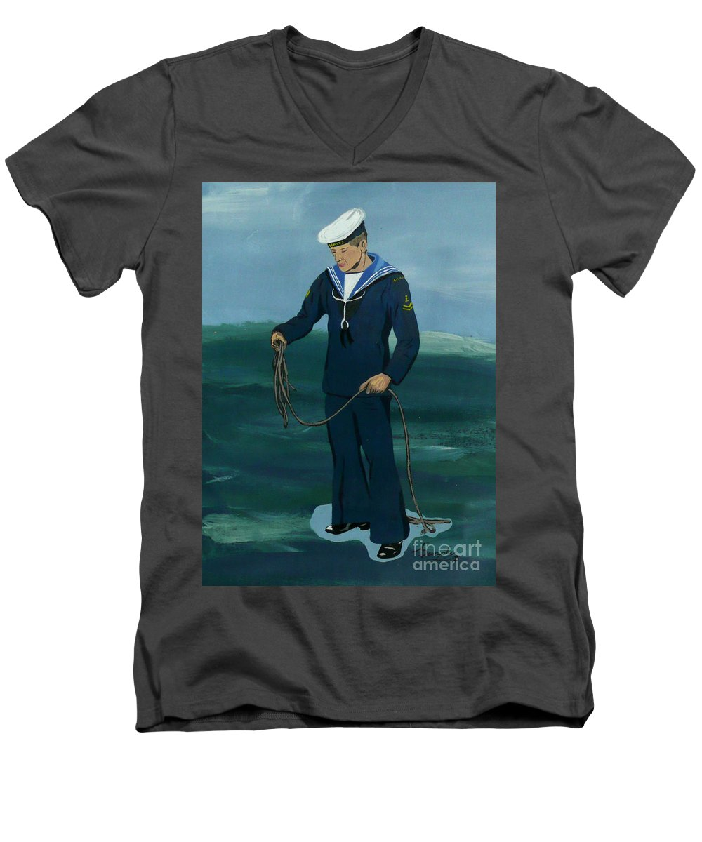 Sailor Men's V-Neck T-Shirt featuring the painting The Sailor by Anthony Dunphy