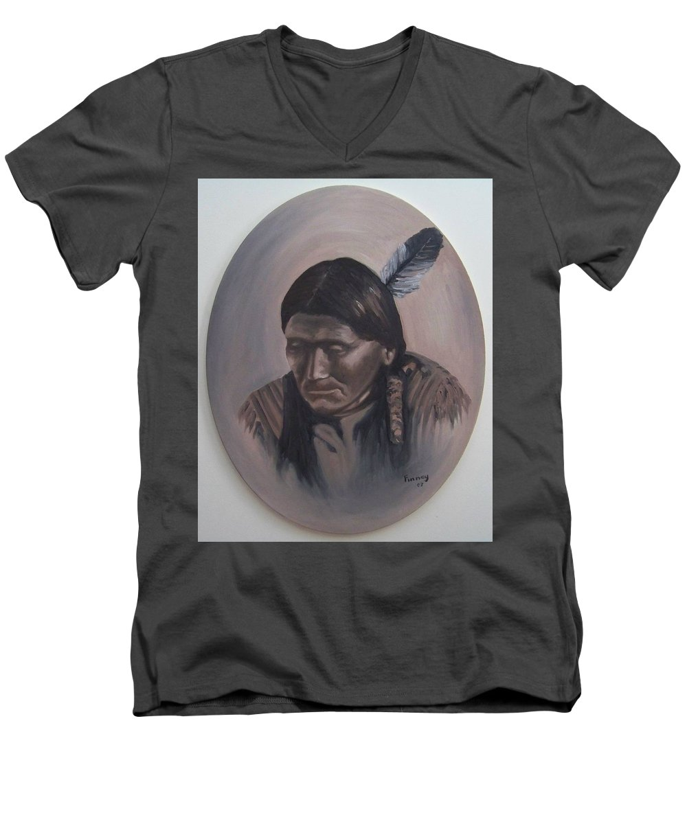 Michael Men's V-Neck T-Shirt featuring the painting The Story Teller by Michael TMAD Finney
