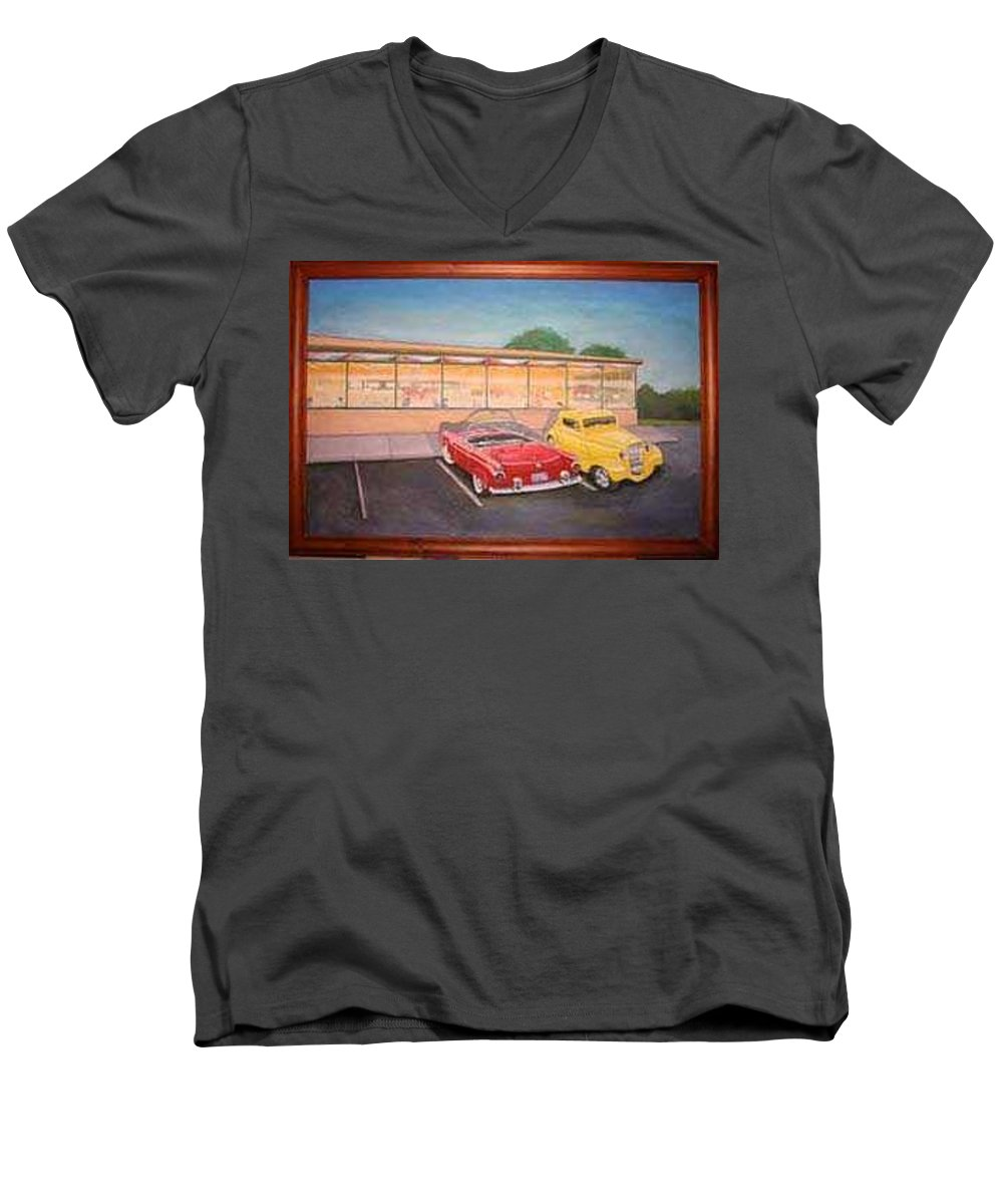 Rick Huotari Men's V-Neck T-Shirt featuring the painting Times Past Diner by Rick Huotari