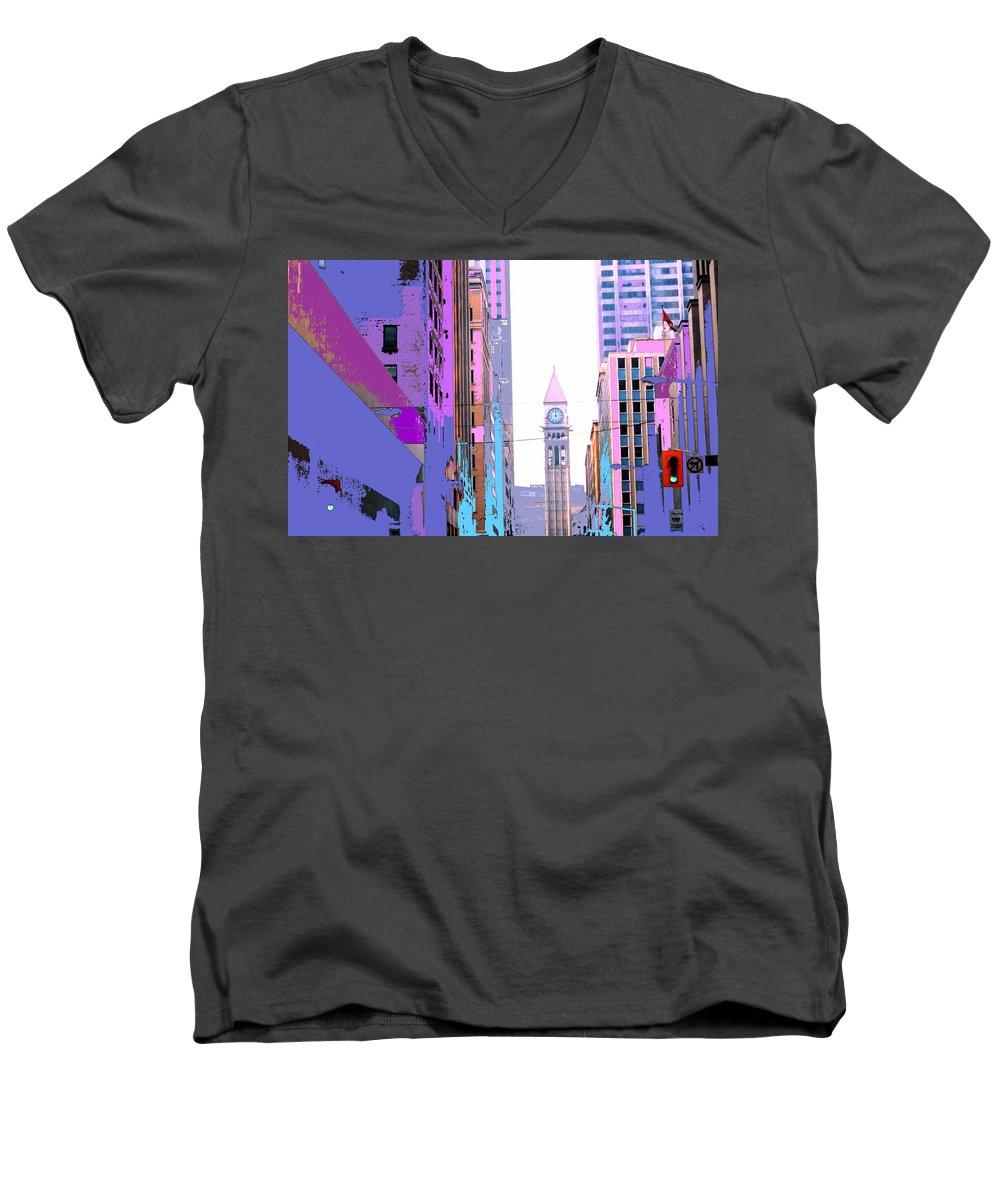 Bay Men's V-Neck T-Shirt featuring the photograph Toronto Old City Hall by Ian MacDonald