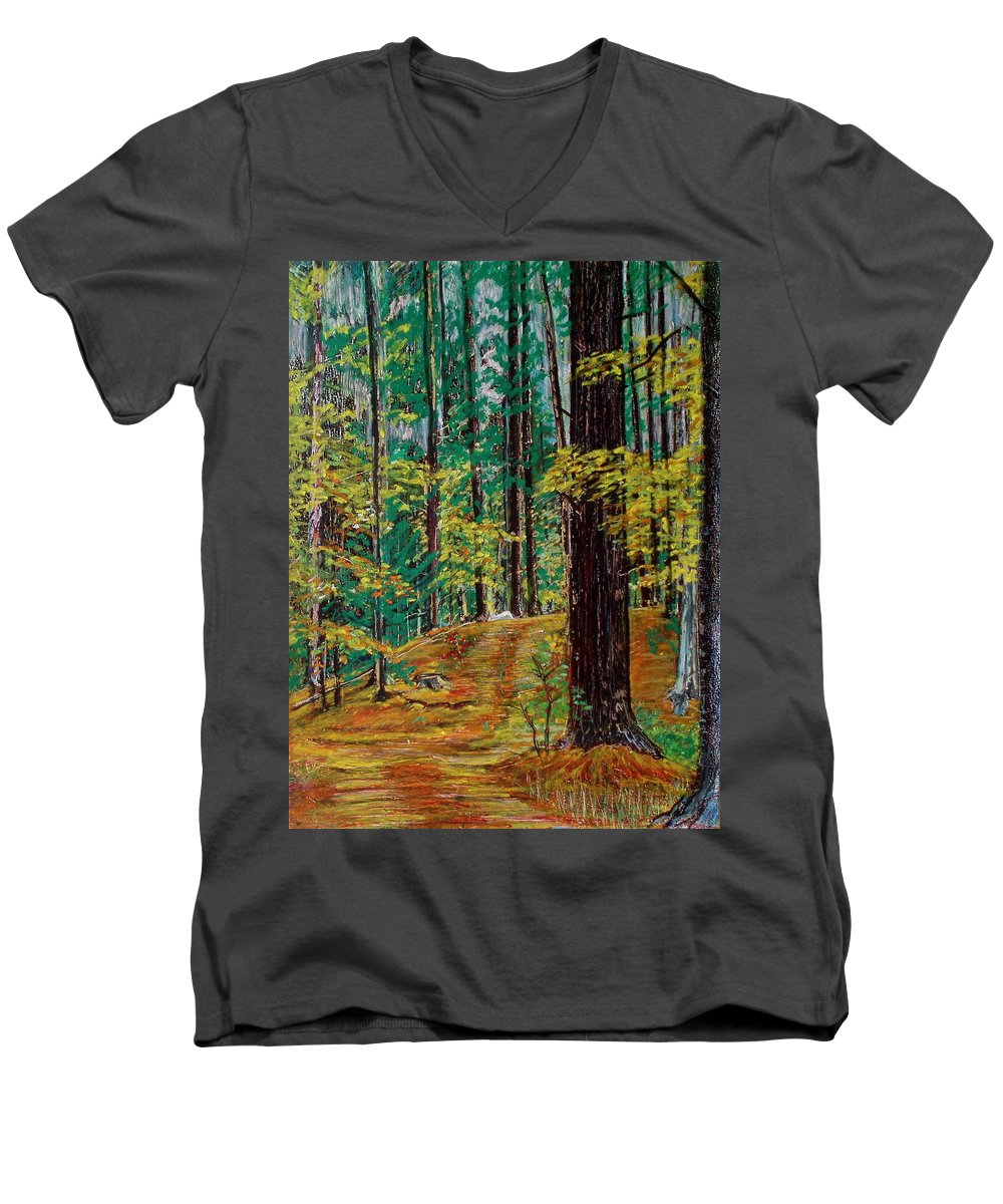 New Hampshire Men's V-Neck T-Shirt featuring the pastel Trail At Wason Pond by Sean Connolly