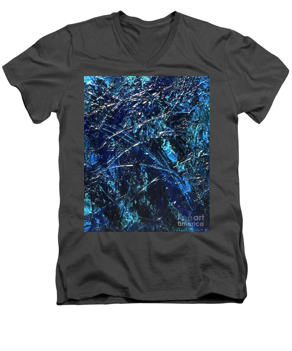 Abstract Men's V-Neck T-Shirt featuring the painting Transitions I by Dean Triolo