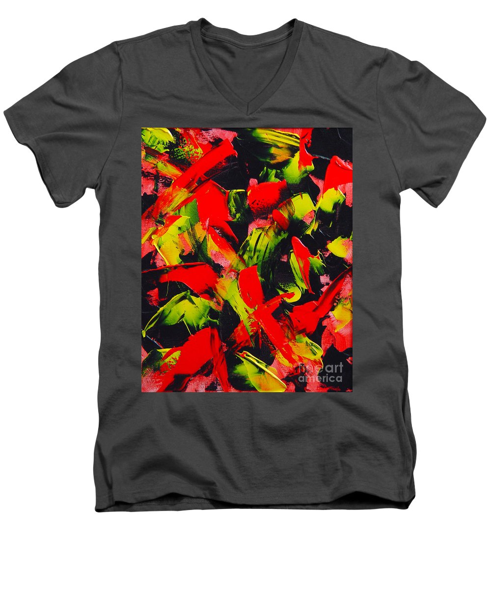 Abstract Men's V-Neck T-Shirt featuring the painting Transitions IIi by Dean Triolo