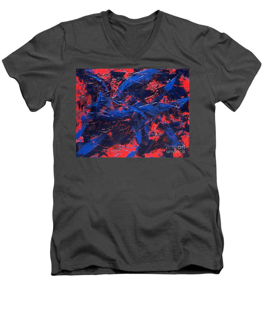 Abstract Men's V-Neck T-Shirt featuring the painting Transitions Iv by Dean Triolo