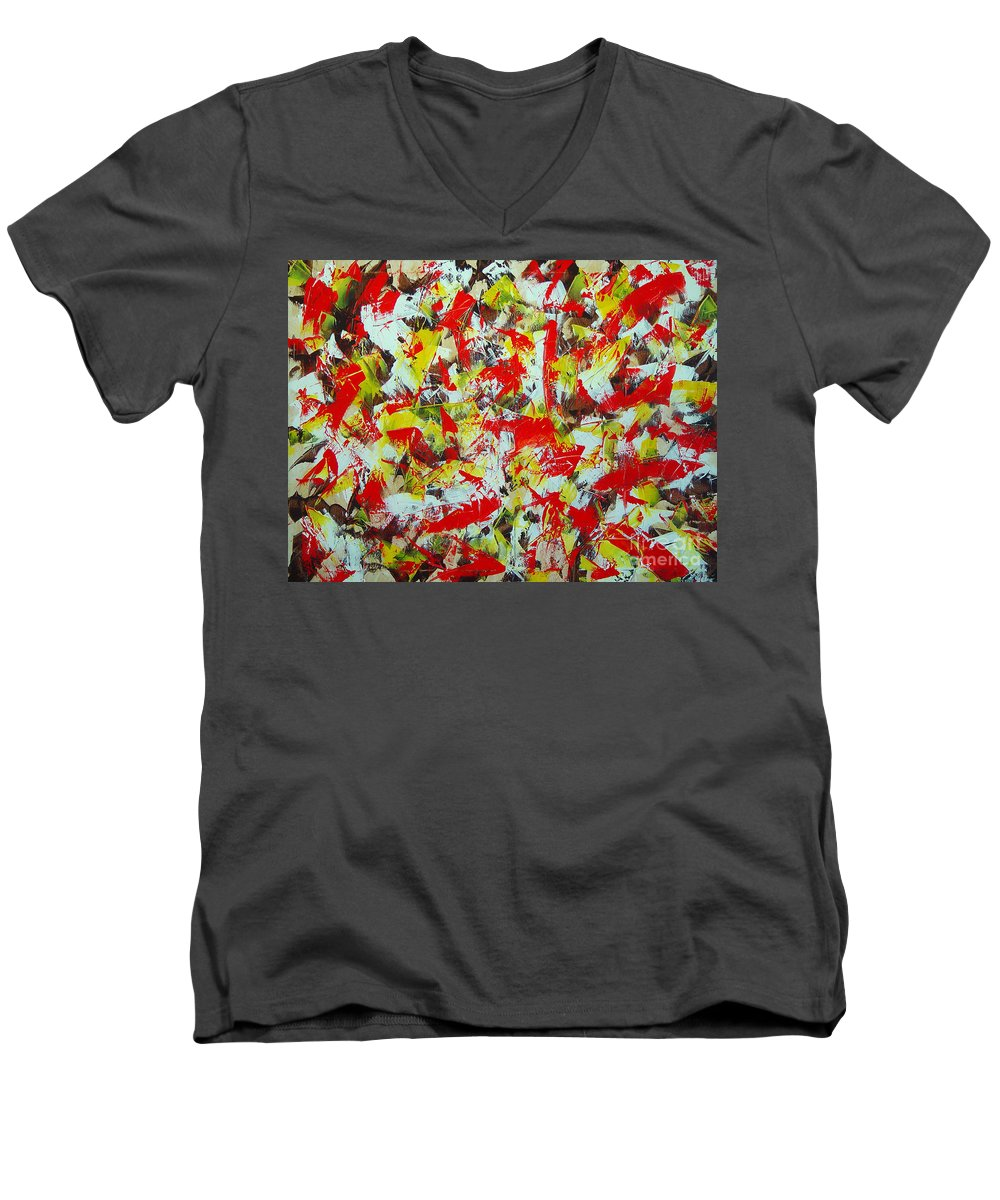 Abstract Men's V-Neck T-Shirt featuring the painting Transitions With Yellow Brown And Red by Dean Triolo