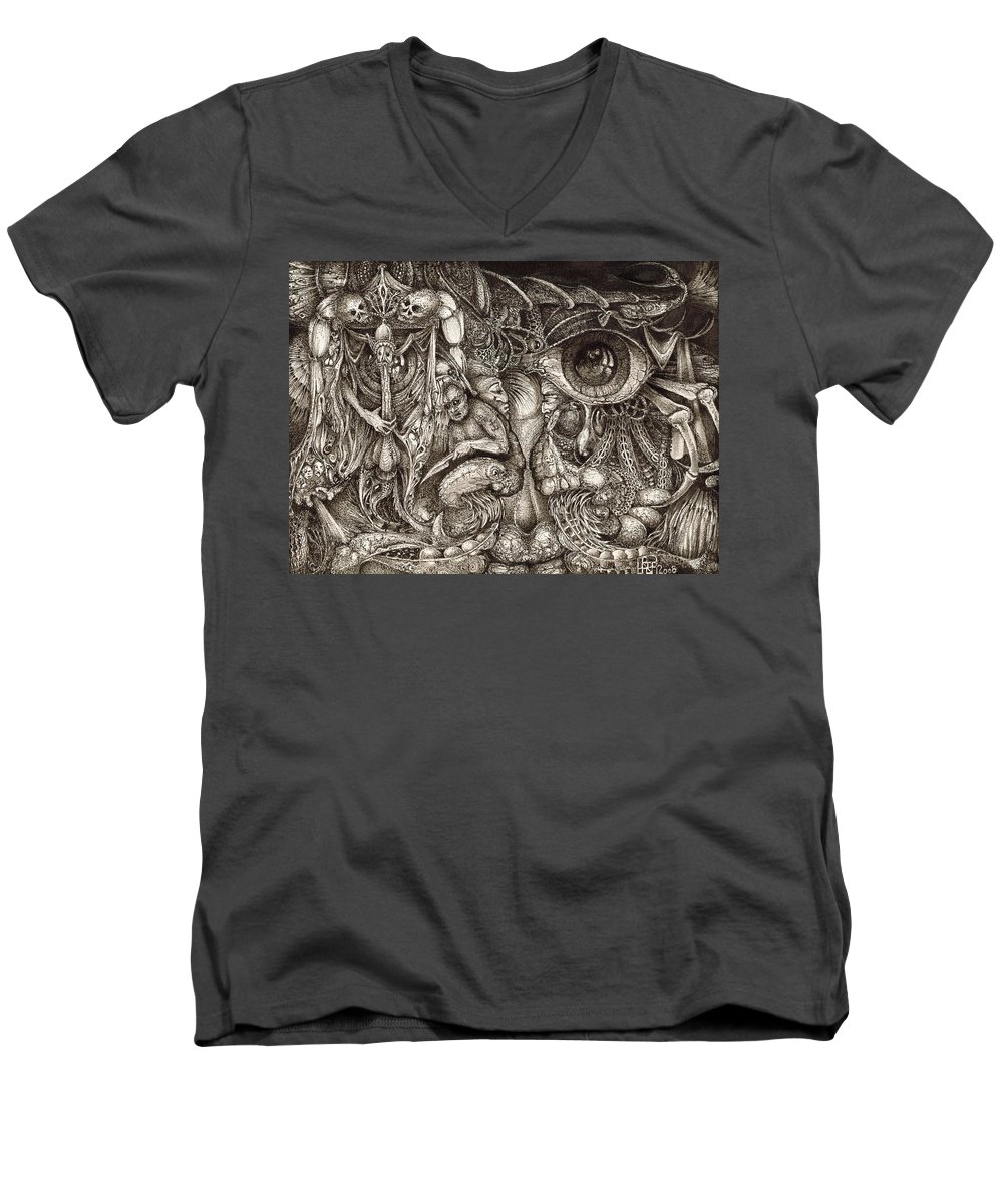 Surreal Men's V-Neck T-Shirt featuring the drawing Tripping Through Bogomils Mind by Otto Rapp