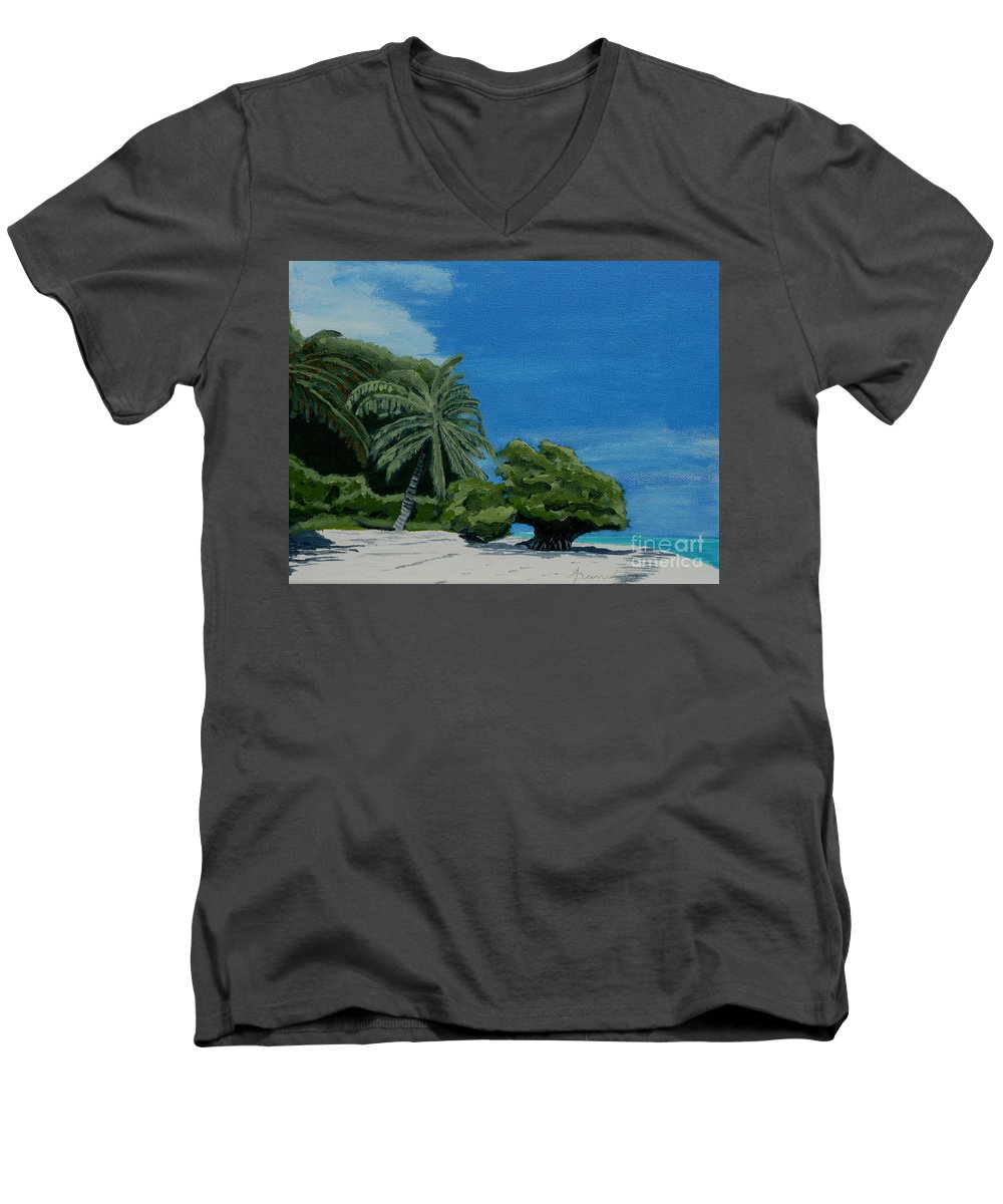 Beach Men's V-Neck T-Shirt featuring the painting Tropical Beach by Anthony Dunphy