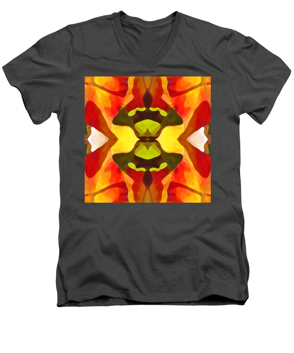 Abstract Men's V-Neck T-Shirt featuring the painting Tropical Leaf Pattern 1 by Amy Vangsgard