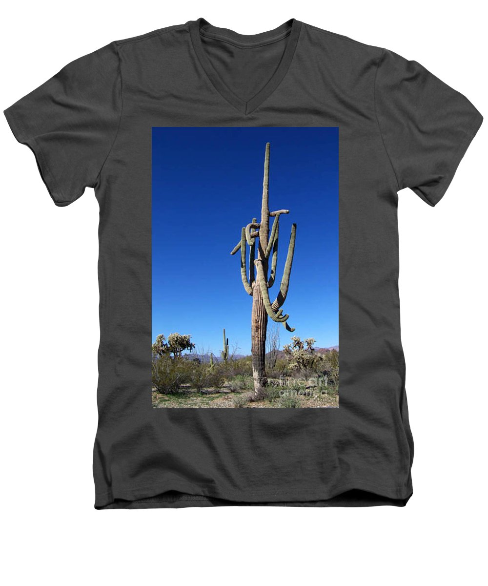 Sahuaro Men's V-Neck T-Shirt featuring the photograph Twisted Sentinal by Kathy McClure
