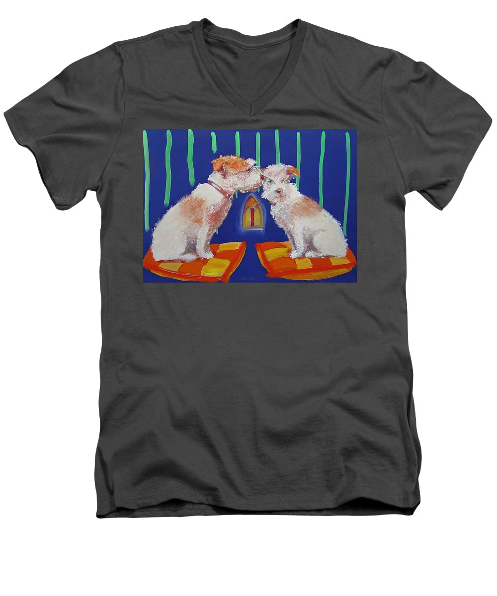 Puppy Men's V-Neck T-Shirt featuring the painting Two Border Terriers Together by Charles Stuart
