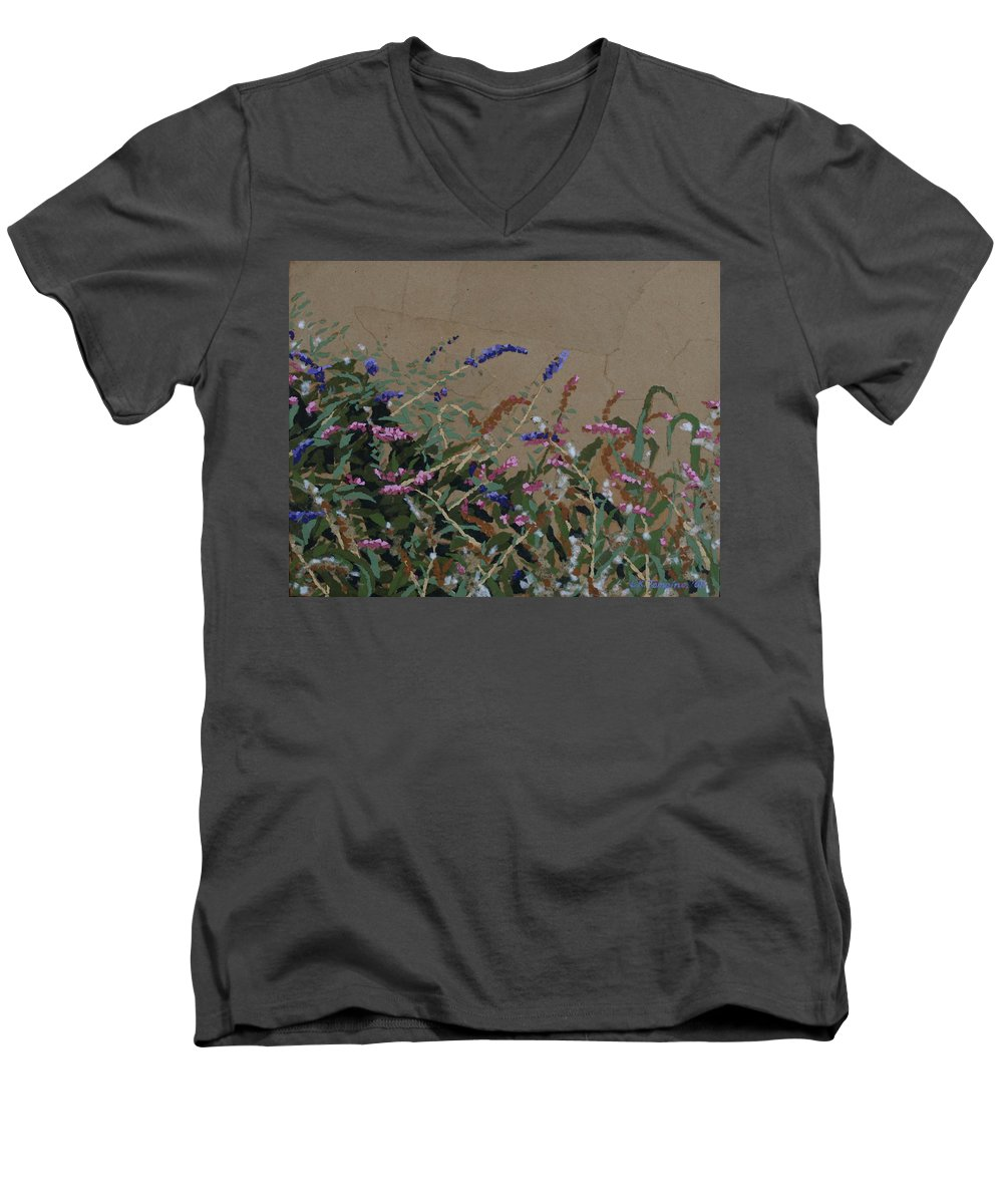Flowering Butterfly Bush Men's V-Neck T-Shirt featuring the painting Tyler by Leah Tomaino